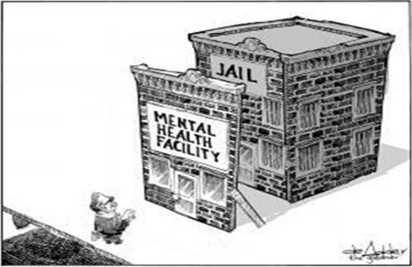 Comic of a fake mental health building front covering a jail