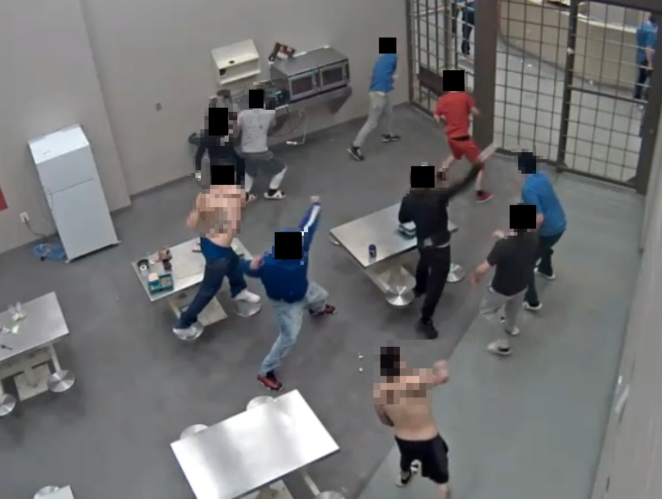 Photos of CCTV captures showing inmates throwing food at protected status inmates at Edmonton Institution