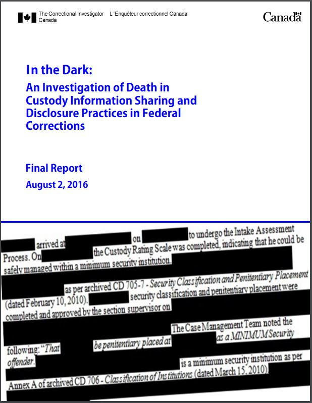 Photo of the cover of OCI's report titled, In the Dark: An Investigation of Death in Custody Information Sharing and Disclosure Practices in Federal Corrections (August 2, 2016).