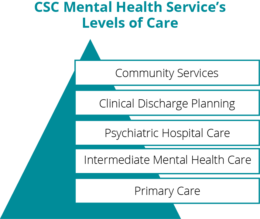 A pyramid chart depicting CSC Mental Health Service's levels of care.