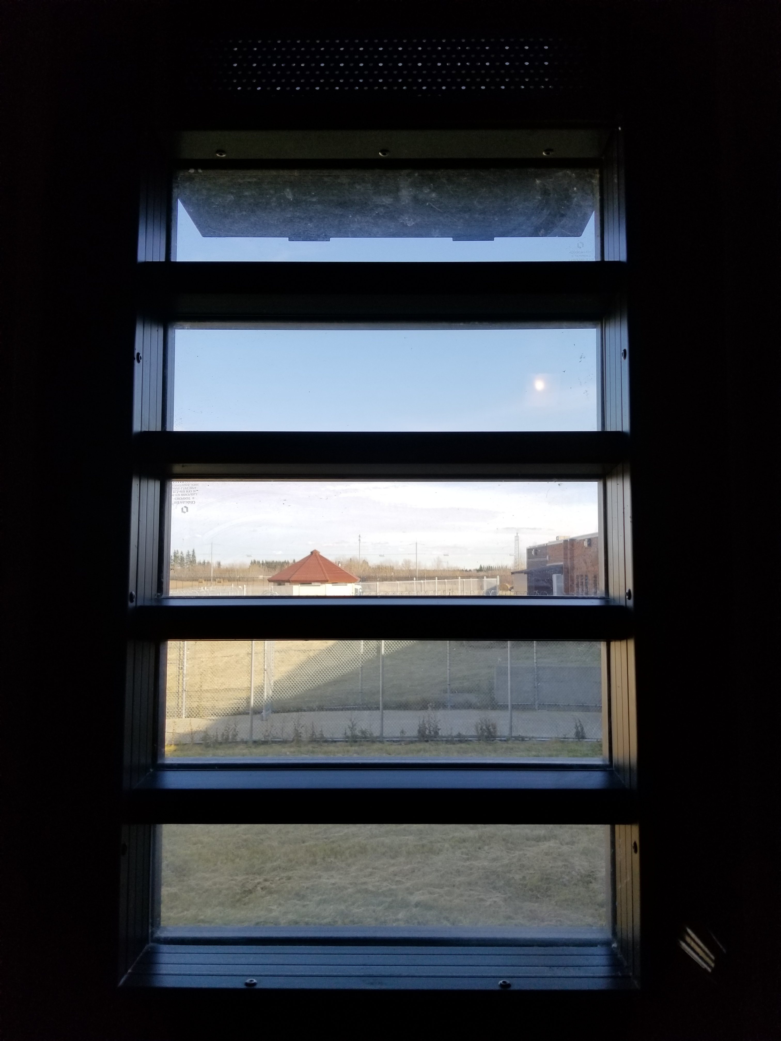 Photo of the view from a cell in the Therapeutic Range at Edmonton Institution